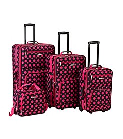 Rockland 4-pc. Black & Pink Dot Luggage Set