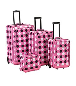 Rockland 4-pc. Pink Dot Luggage Set