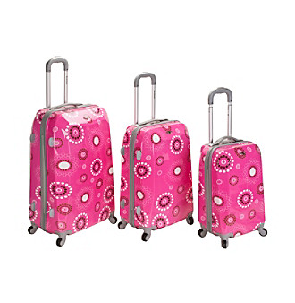 Rockland 3-pc. Pink Vision Polycarbonate/ABS Luggage Set
