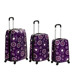 Rockland 3-pc. Purple Multi Vision Polycarbonate/ABS Luggage Set