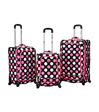 Rockland Polo Equipment Pink Dots 3-pc. Fusion Spinner Luggage Set