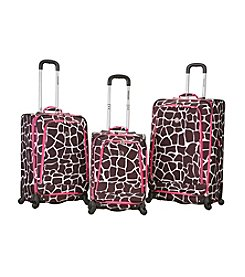 Rockland Polo Equipment Pink Giraffe 3-pc. Fusion Spinner Luggage Set