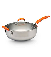 Rachael Ray® Stainless Steel 6-qt. Covered Chef's Pan with Orange Handles
