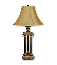 Ore International™ Antique Gold 3-Pillar Table Lamp