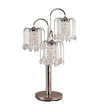 Ore International™ Antique Brass Finish Table Lamp With Crystal-Like Shades