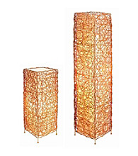 Ore International™ Rectangle Rattan Lamp Set