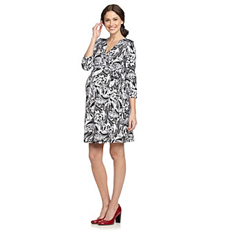 Three Seasons Maternity™ Printed Wrap Black Multi Dress plus size,  plus size fashion plus size appare