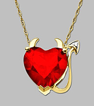 10K Yellow Gold Created Ruby Devil Heart Pendant