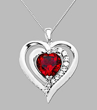 Sterling Silver Created Ruby and Diamond Accent Heart Pendant