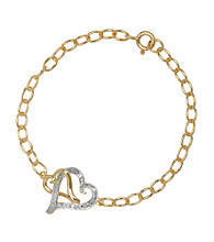 18K Gold-Plated and Sterling Silver Two Heart Bracelet