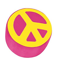 Lumisource® Hot Pink & Yellow Peace Sign Ottoman
