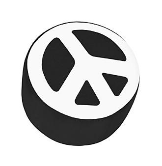 Lumisource® Black & White Peace Sign Ottoman