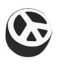 Lumisource® Black & White Peace Sign Ottoman