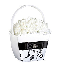 Lillian Rose® Black & White Flower Basket