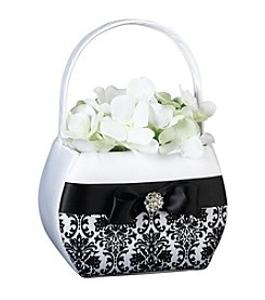 Lillian Rose® Black Damask Flower Basket