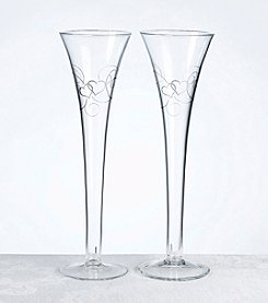 Lillian Rose® Set of 2 Double Heart Flutes