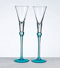 Lillian Rose® Set of 2 Tall Flutes - Aqua