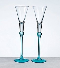 Lillian Rose® Set of 2 Aqua Tall Flutes
