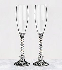 Lillian Rose® Set of 2 Silver Beaded Glasses