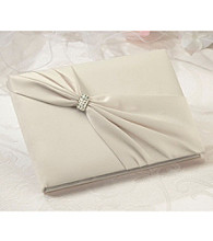 Lillian Rose® Satin Rhinestone Guest Book - Ivory