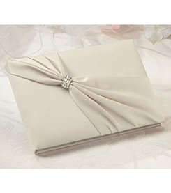 Lillian Rose® Ivory Satin Rhinestone Guest Book