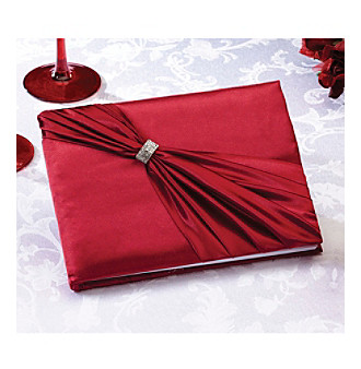 Lillian Rose® Red Satin Rhinestone Guest Book