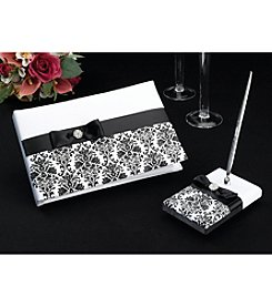 Lillian Rose® Black Damask Guest Book With Pen