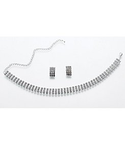 Lillian Rose® Rhinestone Band Necklace/Earrings Set