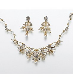 Lillian Rose® Pearl/Rhinestone Necklace/Earring - Gold
