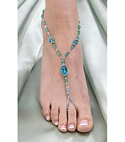 Lillian Rose® Set of 2 Bead Foot Jewelry - Aqua