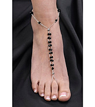Lillian Rose® Set of 2 Bead Foot Jewelry - Black