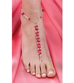 Lillian Rose® Set of 2 Bead Foot Jewelry - Hot Pink