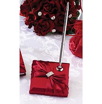 Lillian Rose® Red Satin Rhinestone Pen Set