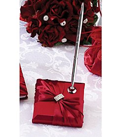 Lillian Rose® Red Satin Rhinestone Pen Set
