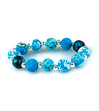 Viva Beads® Blue Brook 12mm Chunky Clay Bead Stretch Bracelet