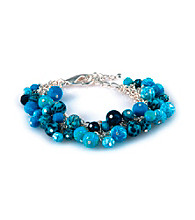 Viva Beads® Blue Brook Beaded Mesh Chain Bracelet