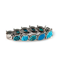 Viva Beads® Blue Brook Pebble Leaf Stretch Bangle
