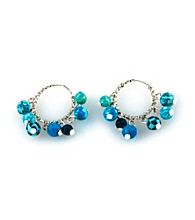 Viva Beads® Blue Brook Beaded Hoop Earrings