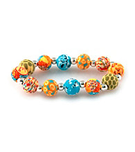 Viva Beads® Pumpkin Spice 12mm Chunky Clay Bead Stretch Bracelet