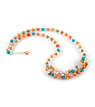 Viva Beads® Pumpkin Spice Crystal Rope Cluster Necklace