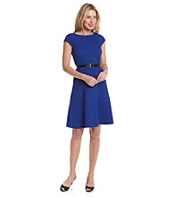 AK Anne Klein® Blue Honeycomb Swing Dress