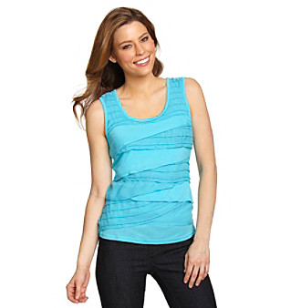 Cable & Gauge® Mixed-Fabric Tiered Tank Top