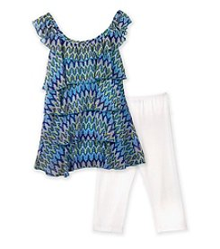 Amy Byer Girls' 7-16 Blue Print Tiered Top and Leggings Set