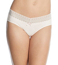 Relativity® Cotton/Spandex Lace Waist Bikini Briefs