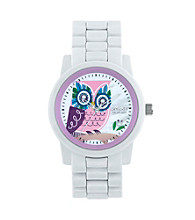 Sprout® Eco-Friendly Mother of Pearl Owl Watch - White