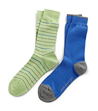 John Bartlett Statements Men's Mint Olive 2-Pack Multi-Striped Socks