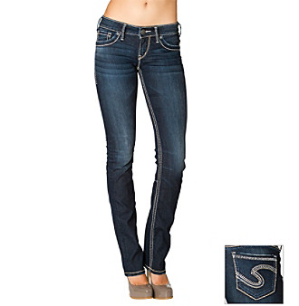 Silver Jeans Co. Berkley Straight Fit Low-Rise Dark Wash Straight-Leg Jeans
