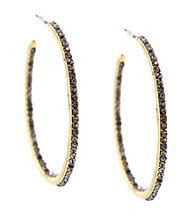 Vince Camuto™ Goldtone Pave Open Hoop Earrings