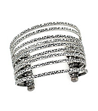 BCBGeneration™ Silvertone Layered Basic Cuff Bracelet