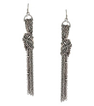 BCBGeneration™ Silvertone Basic Chain Fringe Earrings
